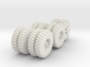 Cargo Truck Wheels(1:18) in White Natural Versatile Plastic