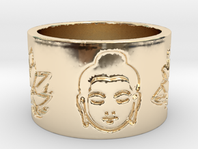 Buddha Lotus Flat Ring Size 4.5 in 14K Yellow Gold