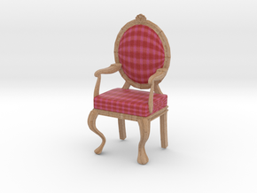 1:12 Scale Red/Pink Plaid/Pale Oak Louis XVI Chair in Full Color Sandstone