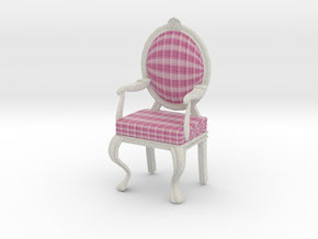 1:12 Scale Pink Plaid/White Louis XVI Chair in Full Color Sandstone