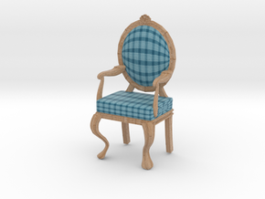 1:12 Scale Acid Blue Plaid/Pale Oak Louis XVI Chai in Full Color Sandstone