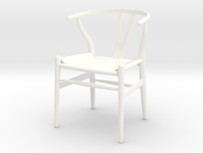 Wishbone Chair in White Processed Versatile Plastic: 1:12