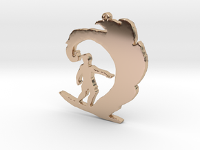 Surfer on a Wave Necklace Pendant in 14k Rose Gold Plated Brass