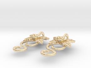 Rose Earrings in 14k Gold Plated Brass