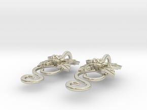 Rose Earrings in 14k White Gold
