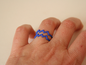 Aquarius Sign Ring in Blue Strong & Flexible Polished