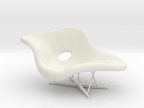 1:12 Eames La Chaise in White Natural Versatile Plastic