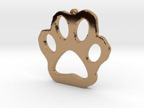 Paw Print Necklace Pendant in Polished Brass