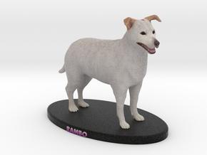 Custom Dog Figurine - Rambo in Full Color Sandstone