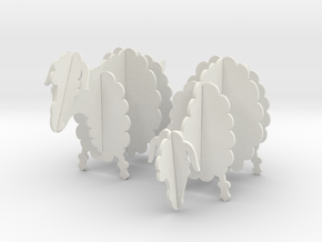 Wooden Sheep 1:12 in White Natural Versatile Plastic
