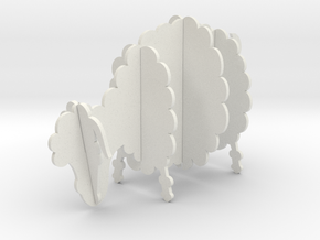 Wooden Sheep A 1:24 in White Natural Versatile Plastic