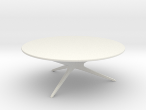 Mid-Century Modern Round Coffee Table 1:24 in White Natural Versatile Plastic