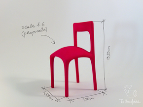 Uncomfortable chair No3 - 1:6 scale in Pink Processed Versatile Plastic