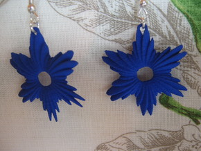 Ellipsoid Variation V1 Earrings in Blue Processed Versatile Plastic