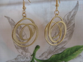 Triple Coil 2 3 Earrings in Raw Brass