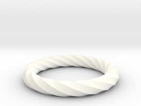 Twisted Ring in White Processed Versatile Plastic