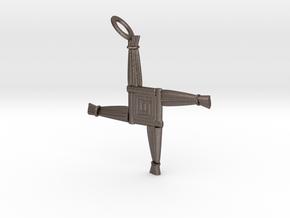 Brigid's Cross pendant in Polished Bronzed Silver Steel