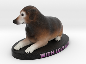 Custom Dog Figurine - Stanley in Full Color Sandstone