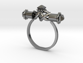 Serpent Capsule Ring - Sz. 8 in Fine Detail Polished Silver
