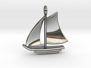 Large Sailboat Pendant in Fine Detail Polished Silver