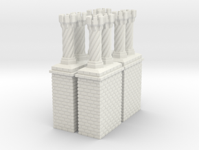 CB-09 Tudor Chimneys With Stacks in White Natural Versatile Plastic