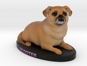 Custom Dog Figurine - Scooter in Full Color Sandstone