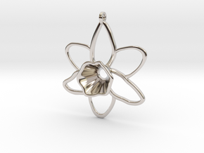 Daffodil Pendant for Necklace in Platinum