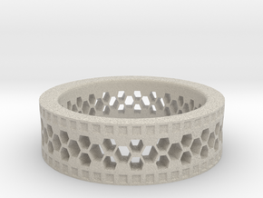 Ring With Hexagonal Holes in Natural Sandstone