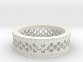 Ring With Hexagonal Holes in White Natural Versatile Plastic