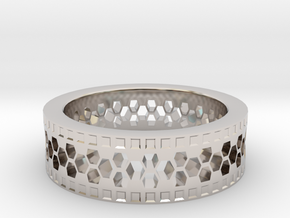 Ring With Hexagonal Holes in Rhodium Plated Brass