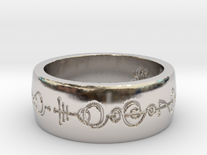 """Live Long & Prosper"" Ring - Engraved Style in Rhodium Plated Brass: 8 / 56.75"