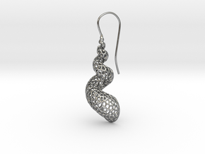 Turitella Shell Voronoi Fishhook Earring in Natural Silver
