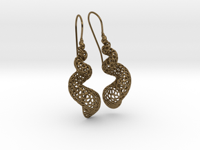 Turitella Shell Voronoi Fishhook Earring Pair in Natural Bronze
