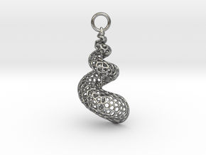 Seashell Voronoi Cell Pattern  pendant / earring in Natural Silver