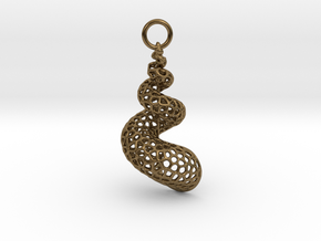 Seashell Voronoi Cell Pattern  pendant / earring in Natural Bronze