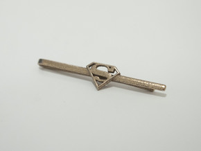 Superman Tie Clip in Polished Bronzed Silver Steel