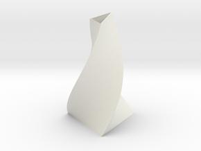 3-sided spiral vase in White Natural Versatile Plastic