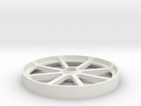 Smooth belt idler - 100mm in White Natural Versatile Plastic