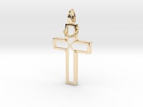 Cross & Thorns Frame Pendant in 14K Yellow Gold
