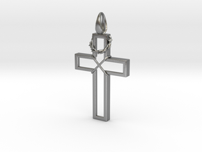 Cross & Thorns Frame Pendant in Natural Silver
