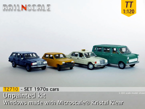 4x 1970s cars (SET B - TT 1:120) in Smooth Fine Detail Plastic