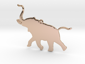 Trumpeting Elephant in 14k Rose Gold Plated Brass