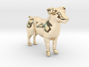 Black & White Jack Russell Terrier in 14K Yellow Gold