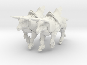 Bronze Bull Rev5 - Pose 3 in White Natural Versatile Plastic