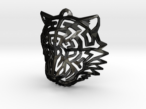 Tiger Head Pendant in Matte Black Steel