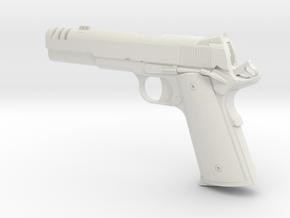 1:12 scale 1911 pistol with compensator in White Natural Versatile Plastic