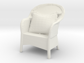 Miniature 1:48 Wicker Chair in White Natural Versatile Plastic
