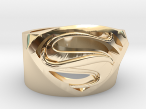 SuperManRIng - Man Of Steel Size US11.5 in 14k Gold Plated Brass