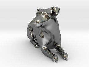 Laying Jack Russell Terrier 1 in Fine Detail Polished Silver