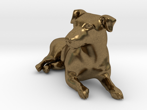 Laying Jack Russell Terrier 2 in Natural Bronze